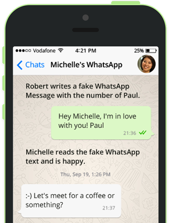 fake whatsapp mascot